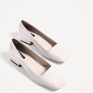 Zara real leather block heels